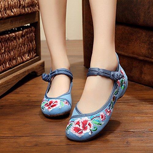 ZLL Gestickte Schuhe, Sehnensohle, ethnischer Stil, weibliche Tuchschuhe, Mode, bequem, Tanzschuhe , black , 40