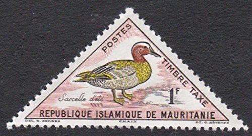1963 Sarcelle Bird 1F Mauritania Triangle Postage Stamp