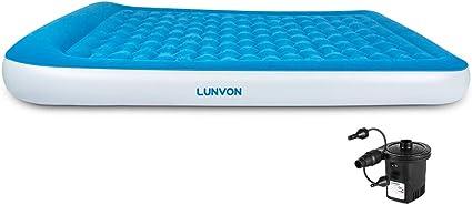 Lunvon Matelas Gonflable 2 Personnes Lits Gonflables Air Bed Avec Pompe Rechargeable électrique Portable Pour Maison Invités Camping Extérieur