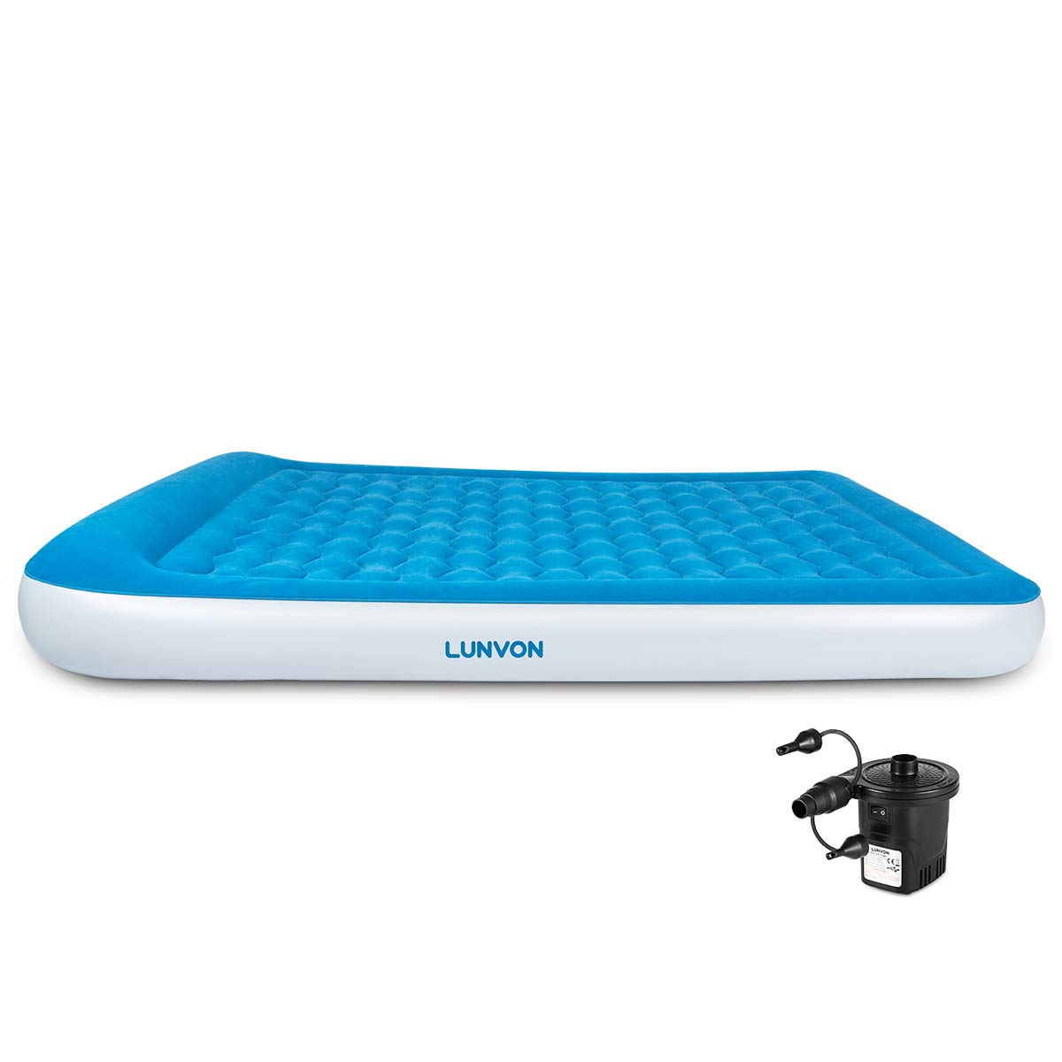 Lunvon Queen Size Self Inflatable Pad Camping Air Mattress Blow Up Bed with Built-in Pillow Anti-Leakage Raised Airbed with Rechargeable Pump for Home, Guest, Height 10'', 2-Year Warranty