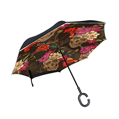 os Muertos Double Layer Windproof, Waterproof Auto Open Reverse Folding Upside Down Car Umbrellas with C Shape Handle ()