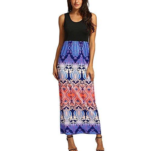ess, AgrinTol Womens Summer Plus Size Striped Boho Long Dress (XXXXL, Orange 2) ()