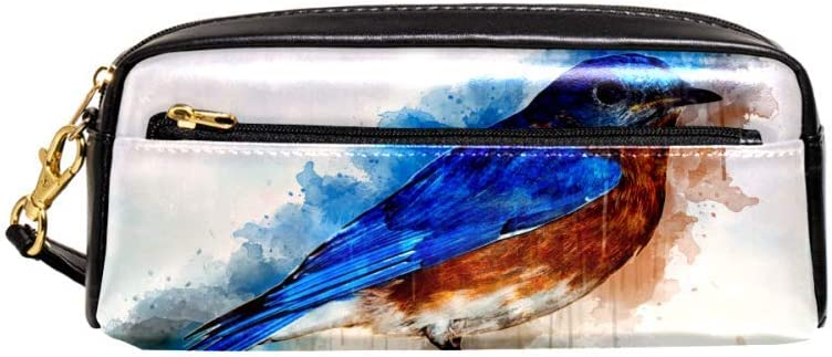 Watercolor Bird Nature Artistic Portable PU Leather Pencil Case School Pen Bags Stationary Pouch Case Large Capacity Makeup Cosmetic Bag