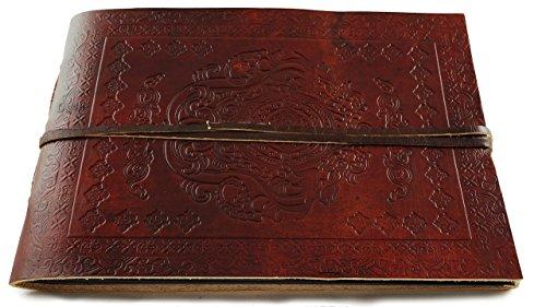 Leather Photo Album Classic Panoramic 10'' x 7'' Handmade Paper 40 Sheets by Terra Negra Studio
