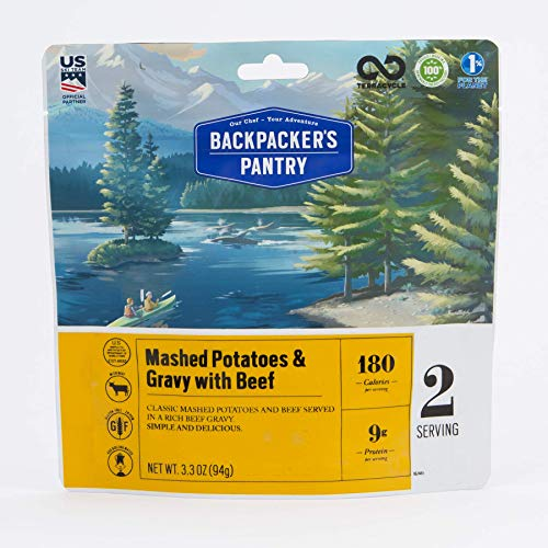 Backpacker's Pantry Mashed Potatoes with Gravy & Beef, 2 Servings Per Pouch, Freeze Dried Food, 9 Grams of Protein, Gluten Free