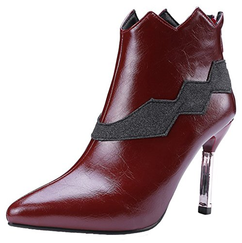 Sequined Knee High Boot (Mofri Women's Sexy Sequins Splicing Pointed Toe High Stiletto High Heel Side Zipper Ankle Boots (Wine Red, 7 B(M) US))