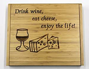 Soiree Cheese Board Set Gift - Drink Wine, Eat Cheese, Enjoy the Life!