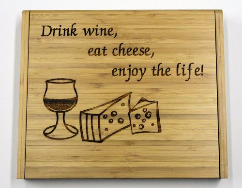 (Soiree Cheese Board Set Gift - Drink Wine, Eat Cheese, Enjoy the Life!)