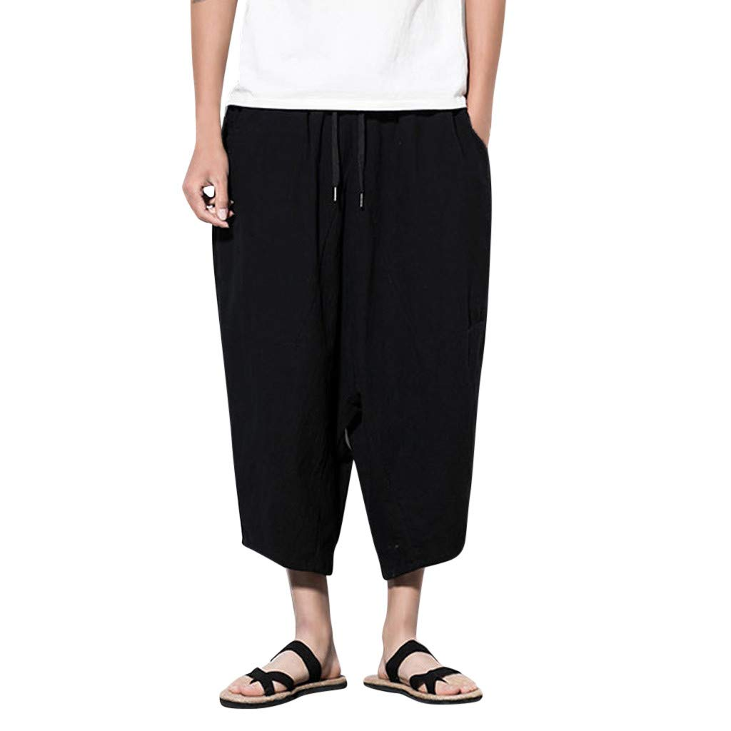 Men's Baggy Capri Pants | Men Casual Retro Solid Streetwear Drawstring Calf-Length Harem Trousers