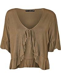 RM Fashions Women's Plus Size Frill Tie Short Sleeve Viscose Bolero Shrug Top