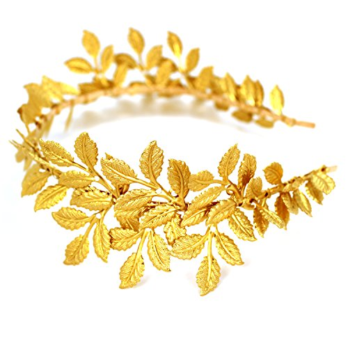 [Handmade Wedding Bridal Headband by OUMOU Vintage Gold Leaf Themed Princess Crown Delicate and Attractive Queen Decor Hair Accessories for Women and Girls 1 Piece - Adjustable Leaf Hair] (Tattoos Of Princess Crowns)