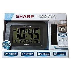 Sharp Digital Atomic Wall Clock - Gray