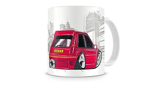 KOOLART kruzroyal caricatura de Renault 5 GT Turbo color rojo - Taza de café: Amazon.es: Hogar