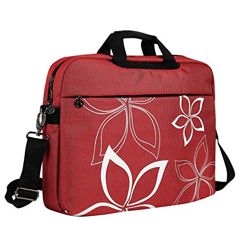 Compaq Bluetooth Notebooks - 17-Inch Red Floral Design Laptop Carrying Case/Messenger Briefcase