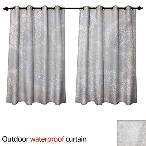 - WilliamsDecor Pearls Outdoor Curtain for Patio Circles Lace Doily Pattern Modern and Romantic Bridal Style Design Artwork Print W55 x L45(140cm x 115cm)