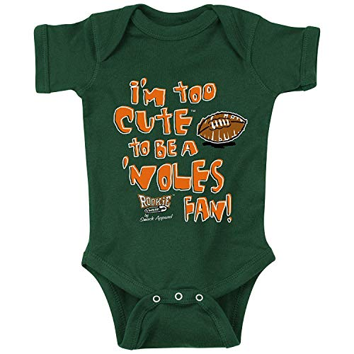 Rookie Wear by Smack Apparel Miami Football Fans. I'm Too Cute Onesie (NB-18M) Toddler Tee (2T-4T) (6M, Green)