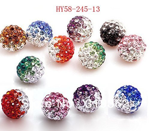 Hybeads 58-470 50pcs/lot Gradient Colorful 10mm Crystal Multi Shamballa Beads Pave Clay Dico Ball for Shamballa Bracelet - Necklace New Shamballa