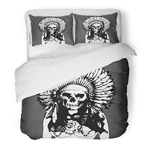 (Tarolo Bedding Duvet Cover Set Brown Native Indian Evil Girl Painting Nice Detail of Machine and Bad Ugly Face Tattoo 3 Piece Twin 68