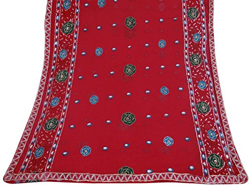 Vintage Dupatta Indian Scarf Embroidered Fabric Sarong Red Veil Stole Hijab (Vintage Indian Scarves)