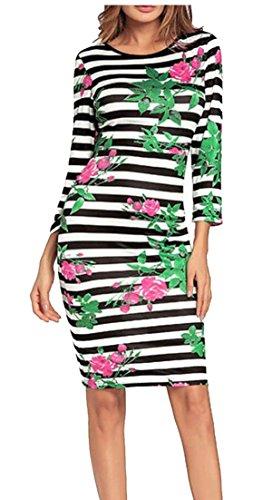 Ainr Moulantes Femmes Rayées Floral Manches Longues Robes Tunique Casual 1