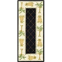 Safavieh Chelsea Collection HK362C Hand-Hooked Black and Ivory Premium Wool Runner (26 x 6)