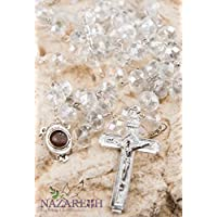 White Large Crystals Beads Rosary Necklace Jesus Cross and Holy Soil (Holy Land)