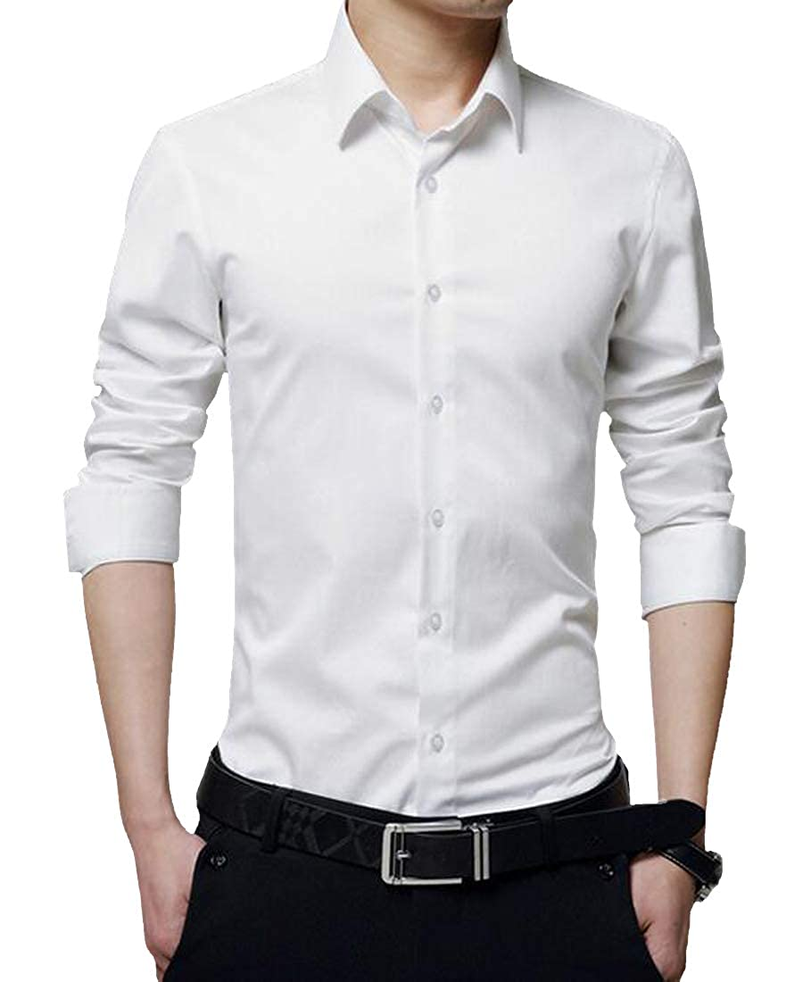 Etecredpow Men Workwear Button Down Long Sleeve Slim Cotton Dress Shirt