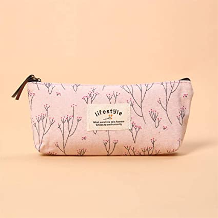 Estuches pink Small Floral Pencil Case Canvas Storage Pouch ...