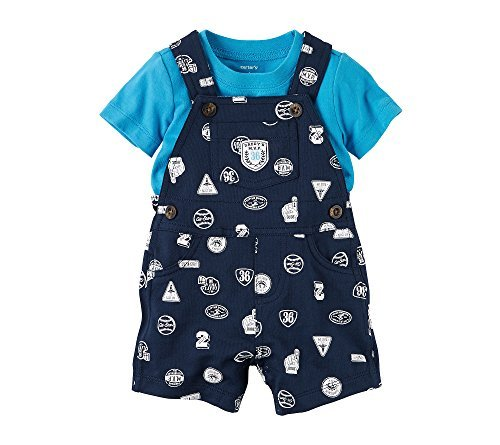 Darling Overalls - Carter's Baby Boys' 2 Piece Set Overall And Top,Blue,3 Months