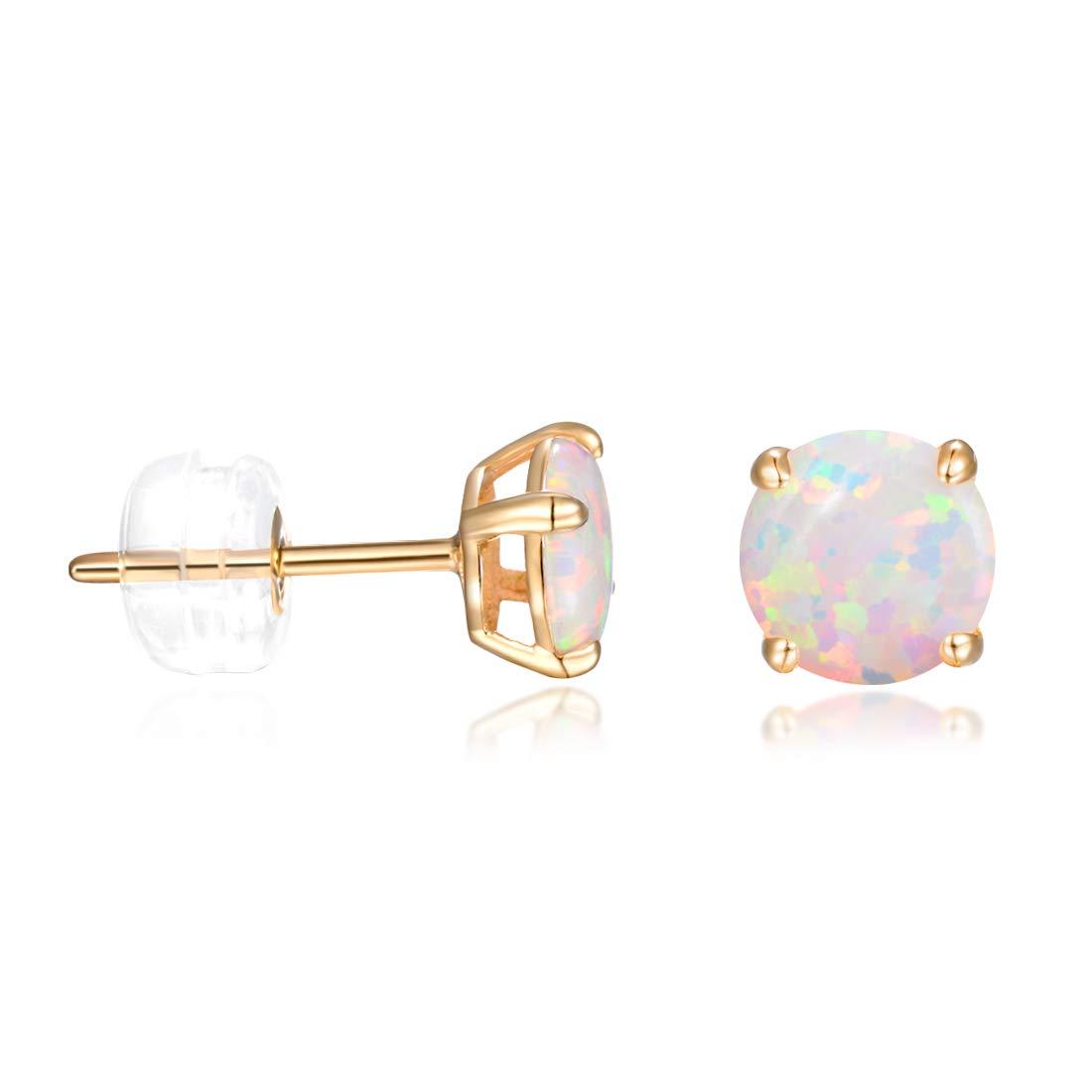 14K Gold Earrings Studs for Women 6mm White Fire Opal Earring Hypoallergenic Jewelry Gifts