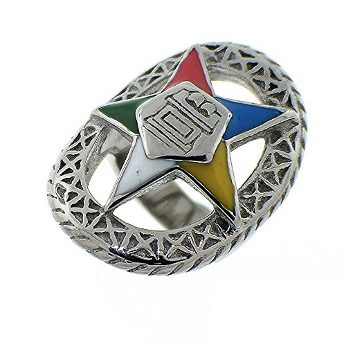 Eastern Star Symbol (Order of the Eastern Star Ring - Silver Color Webbed Steel Band with OES Symbol. Masonic Rings / OES Jewelry (Size)