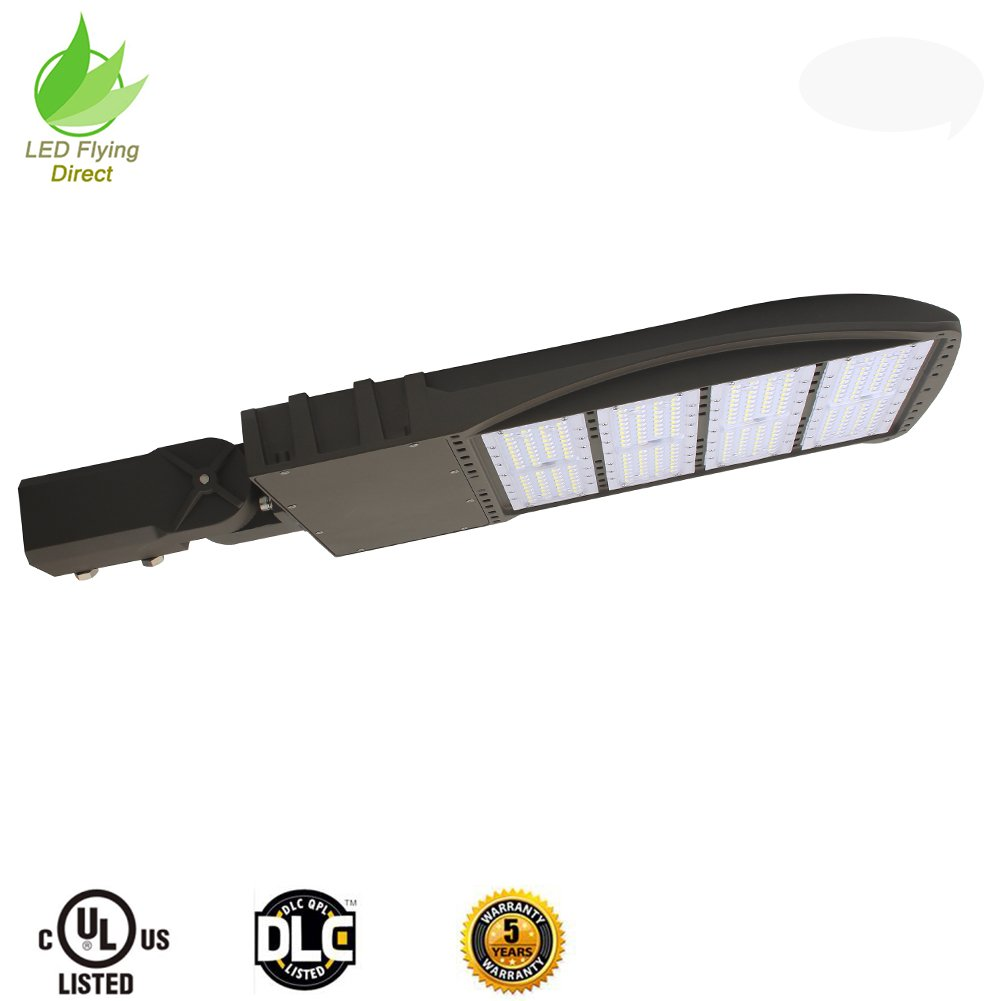LED Flying Direct 300w LED Street Light, Road Lamp, Parking Lots Pole LED Outdoor Site and Area Light, Shoe Box Light, 39000L, 5000k, UL DLC (Brown) (300w slip fitter 100-277V)