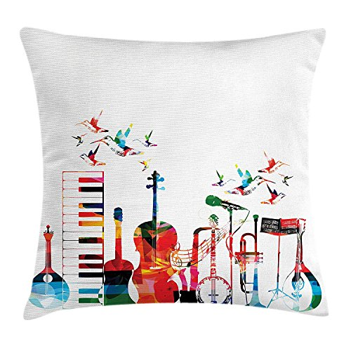 Music Throw Pillow Cushion Cover, Colorful Musical Instruments Keyboard Guitar Banjo Trumpet Cello and Flying Birds, Decorative Square Accent Pillow Case, 18 X 18 Inches, Multicolor ()