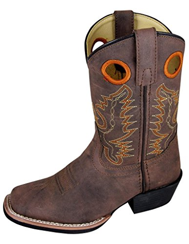 Smoky Mountain Childs Memphis Sq Toe Boot Brown Distress,Brown,4 M US Big Kid