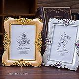 ZHCHL Creative Wedding Studio Vintage Photo Picture Frames PVC Gold Silver Crystal Beautiful Elegant Home Decor (Size: 17.5cm by 21.5cm, Color Multicolor)