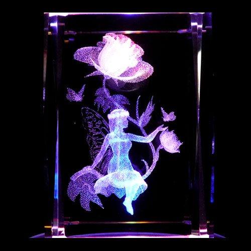 (Fairy Rose 3D Laser Etched Crystal + Display Light Base )