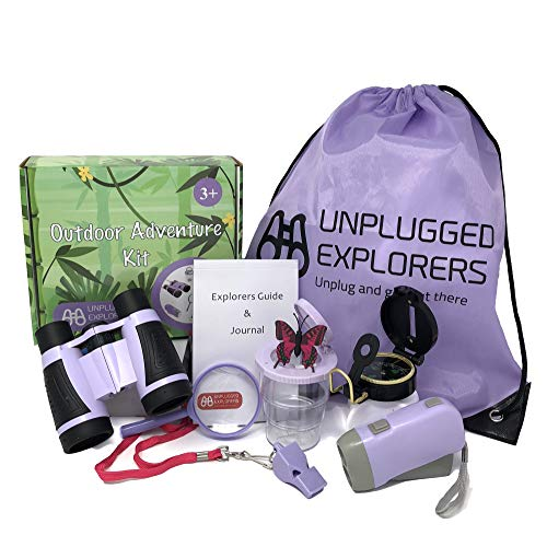 Unplugged Explorers 9 Piece Kids Outdoor Toys Kids Adventure Kit - Purple or Yellow Backpack, Binoculars, Flashlight, Compass, Bug Collector, Whistle, Magnifying Glass - Kid Explorer Kit, STEM Gift - Purple Kit