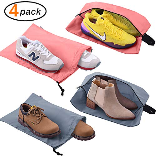 Accessories Men & Women Large Shoe Bag with Drawstring and Zipper for Storage Golf Gym 4-Pack (2 Color) ()