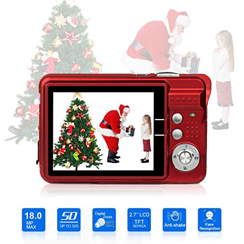 HD Mini Digital Cameras,Point and Shoot Digital Cameras for Kids Teenagers-Travel,Camping,Gifts (Red 1)