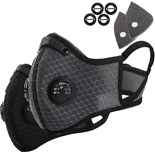 Dust Mask - 2 Pack Activated Carbon N99 Earloop Dustproof Masks with Extra Filter Cotton Sheet and Valves for Exhaust Gas, Pollen Allergy, PM2.5, Running, Cycling, Outdoor Activities (Black+Gray)