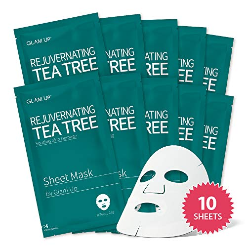 Sheet mask by glam up BTS Rejuvenating Tea Tree - Soothing, Calming Damaged Skin. Remove impurities. Trouble Solution Nature made Freshly packed Daily Skin Therapy Original K-Beauty Recipe x 10ea