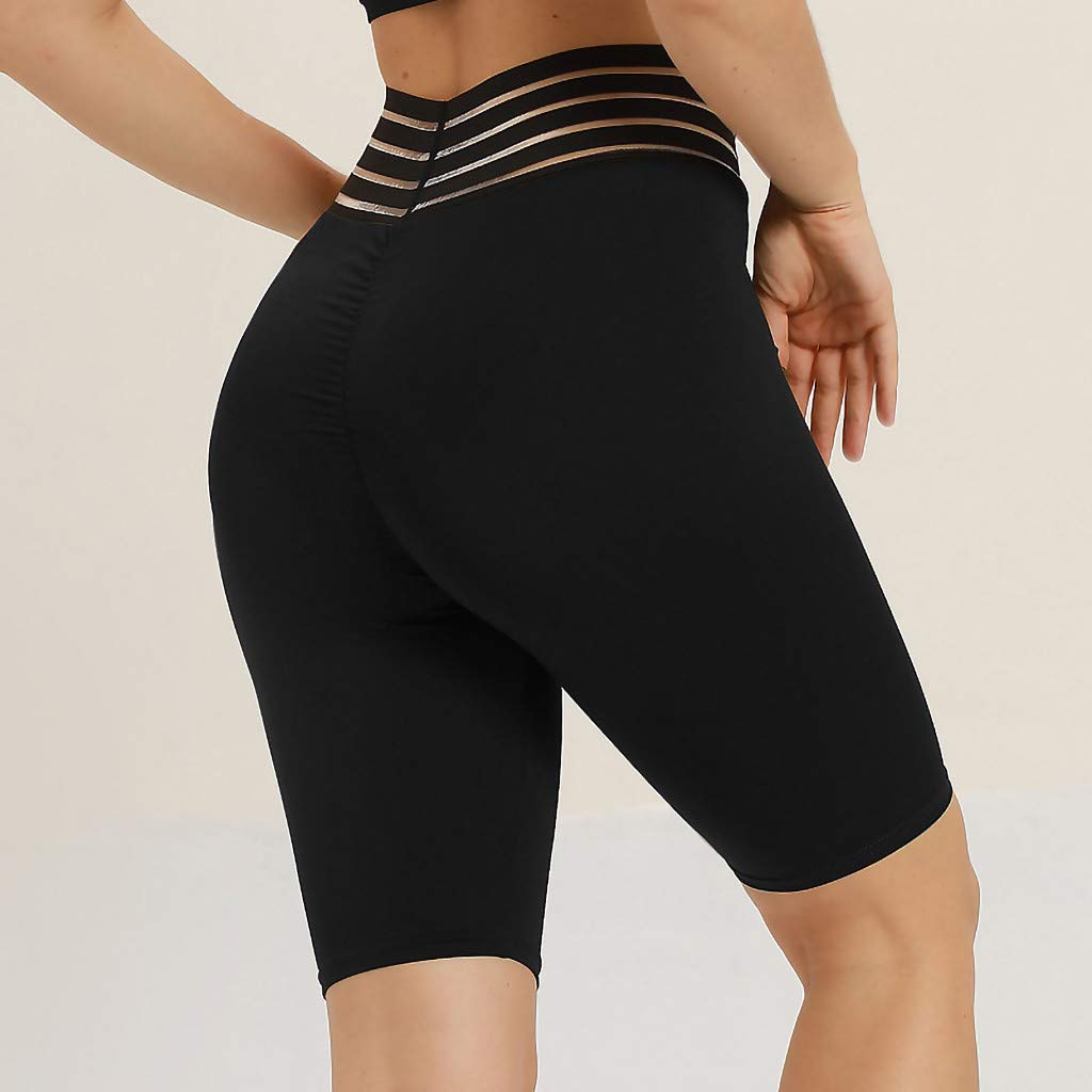 c57ed9541 Ladies Fitness Yoga Pants, High Waist Tummy Control Half Tight Elastic  Printed Knee Length Pants at Amazon Women's Clothing store: