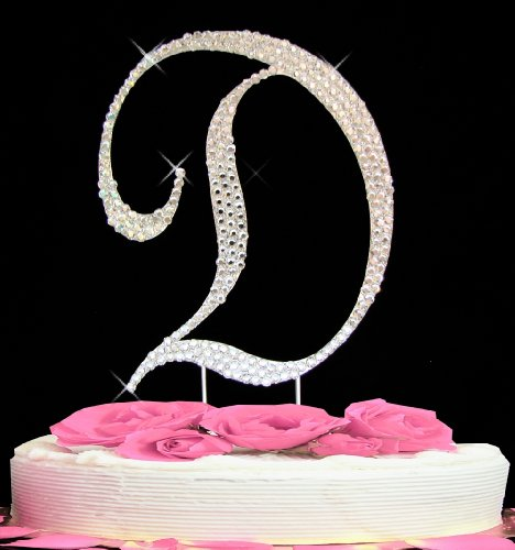 Letter D - Swarovski Crystal Monogram Wedding Cake Topper (Swarovski Wedding Cake)