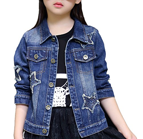 - Girls Ripped Distressed Star Patches & Pearl Beading Blue Denim Jean Jacket (Star, 10)