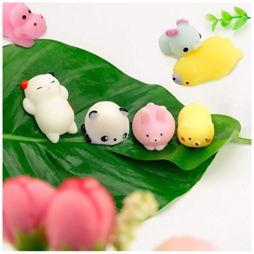 WATINC Random 30 Pcs Cute Animal Mochi Squishy, Kawaii Mini Soft Squeeze Toy,Fidget Hand Toy for Kids Gift,Stress Relief,Decoration, 30 Pack by WATINC (Image #3)