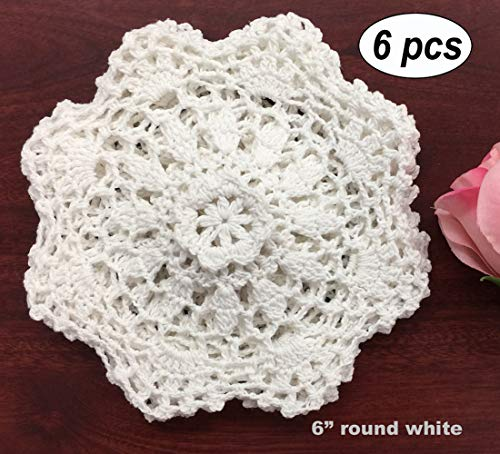 "Creative Linens 6PCS 6"" Round Crochet Lace Doily White 100% Cotton Handmade, Set of 6 Pieces"