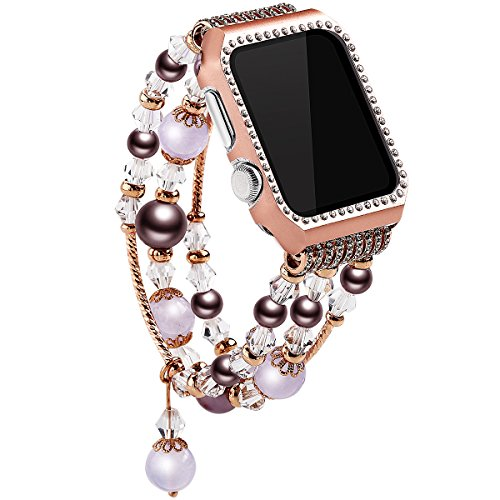 Moonooda Replacement for iWatch Band, Colorful Watch Wristband 38mm with Glitter Diamond Metal Case, Crystal Beads/Pearl Bracelet Feminine/Women Compatible with Apple Watch Series (Romance Pearl Bracelet)