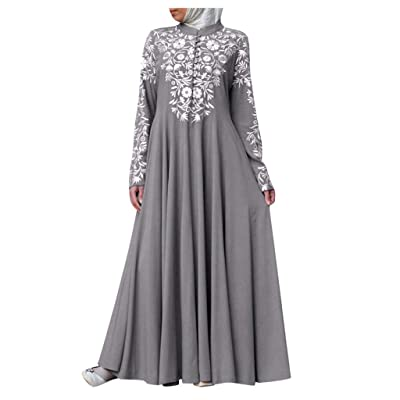 Women Muslim Dresses Casual Vintage Kaftan Arab Jilbab Abaya Evening Gown Islamic Lace Plus Size Maxi Dress: Clothing