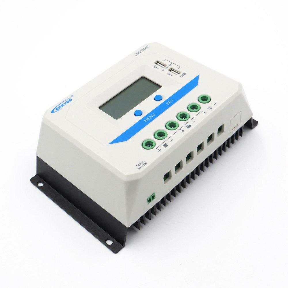 60A VS6024AU 12V 24V EPSolar PWM Solar Charge Controller Regulator LCD Backlight 5V Mobile Phone Charger