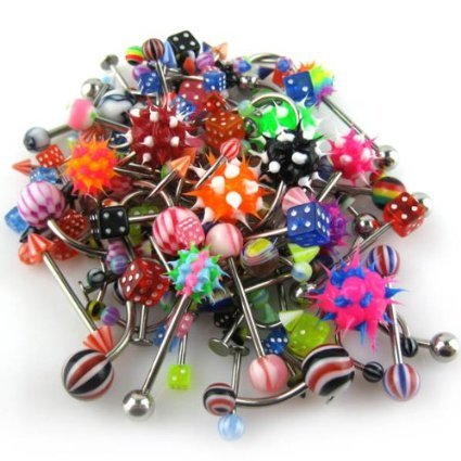 Able® Lot of 110PCS Body Jewelry Piercing Eyebrow Navel Belly Tongue Lip Bar Ring